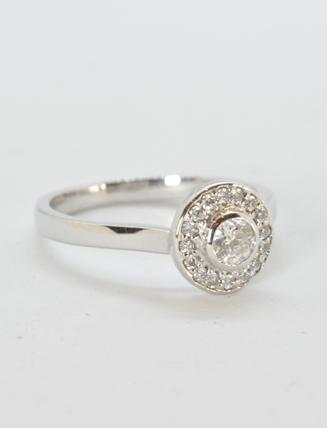 18k White Gold Diamond Engagement Ring .43 carat