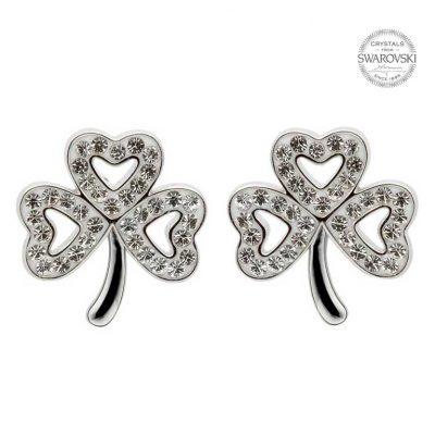 956cfced2 Sterling Silver Swarovski Crystal Shamrock Stud Earrings - Conway's ...