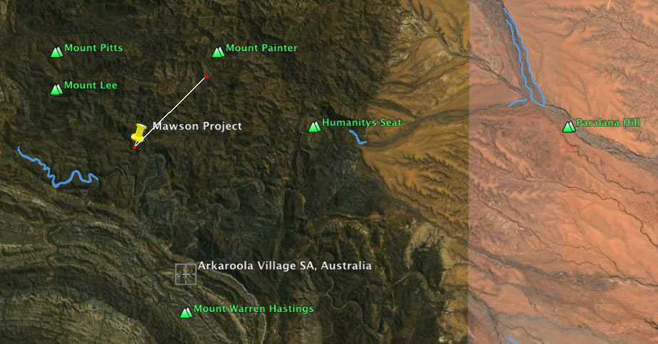 The peg is the location (Mawson Project) which is at a low point in landscape in relation to all other directions n/s/e/w