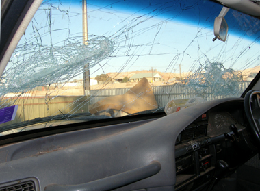 Front windscreen of family car after damages