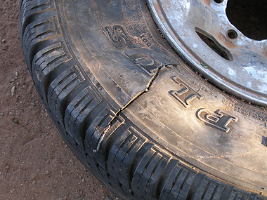 One of the four tyres slashed during the rampage