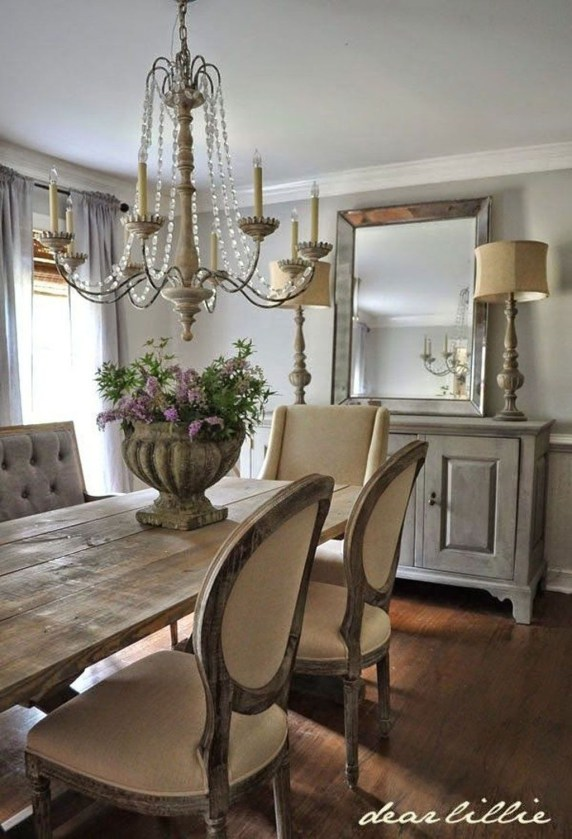 Incredible Fancy French Country Dining Room Design Ideas 48