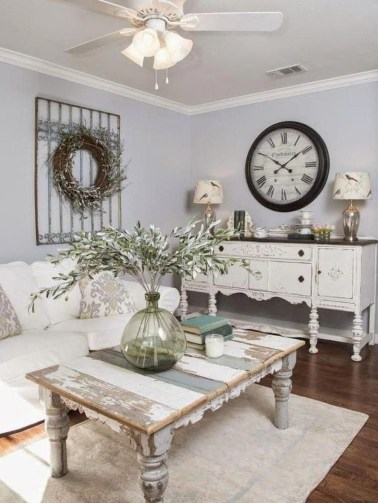 Awesome French Farmhouse Living Room Design Ideas 47