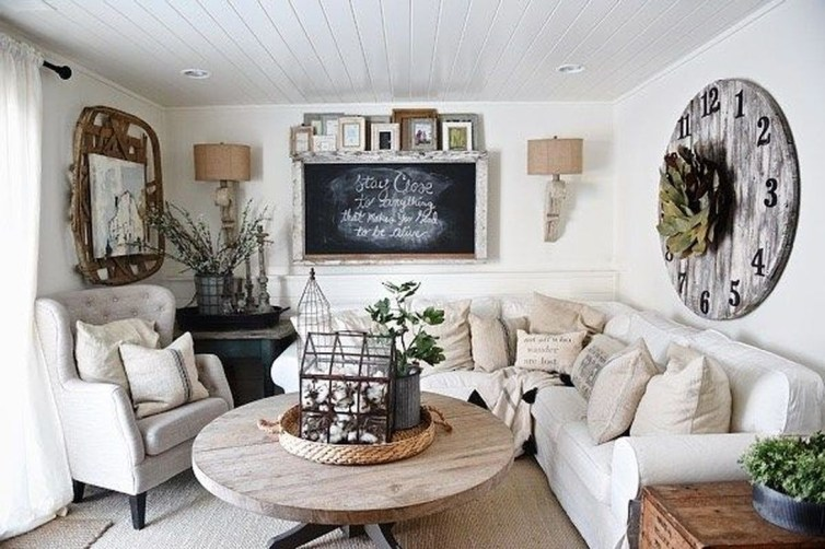Awesome French Farmhouse Living Room Design Ideas 48