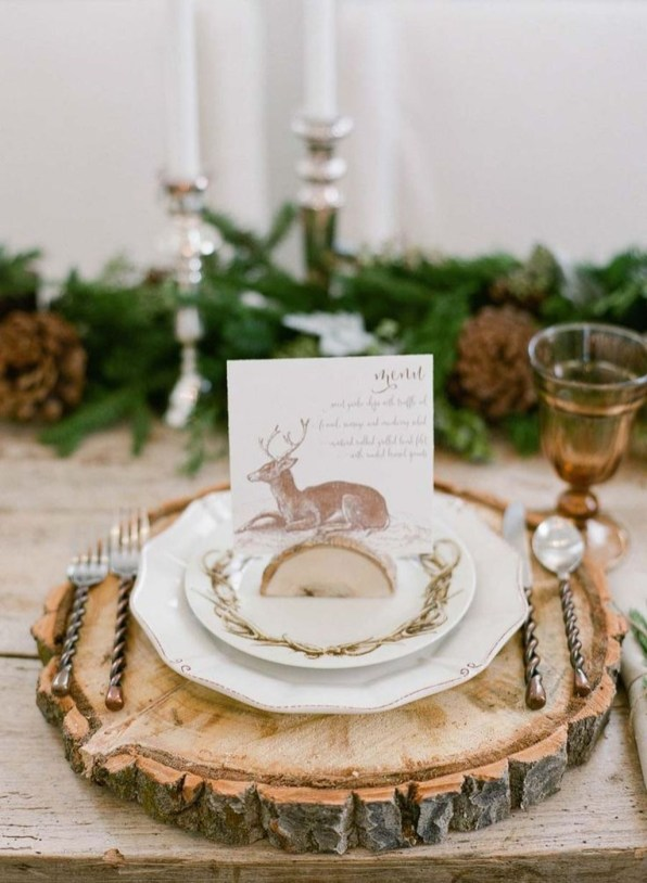 Modern Rustic Christmas Table Settings Ideas 47