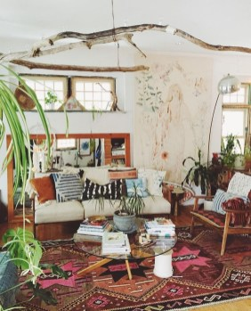 Romantic Rustic Bohemian Living Room Design Ideas 45