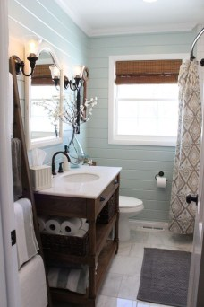 Elegant Farmhouse Bathroom Wall Color Ideas 41