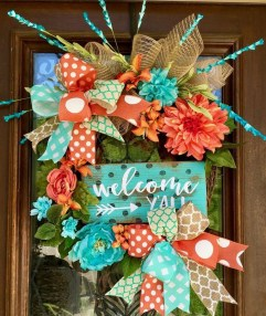 Pretty Summer Wreath Decor Ideas For Front Door 23