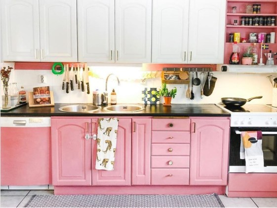 Unique Painted Kitchen Cabinets Design Ideas With Two Tone 29