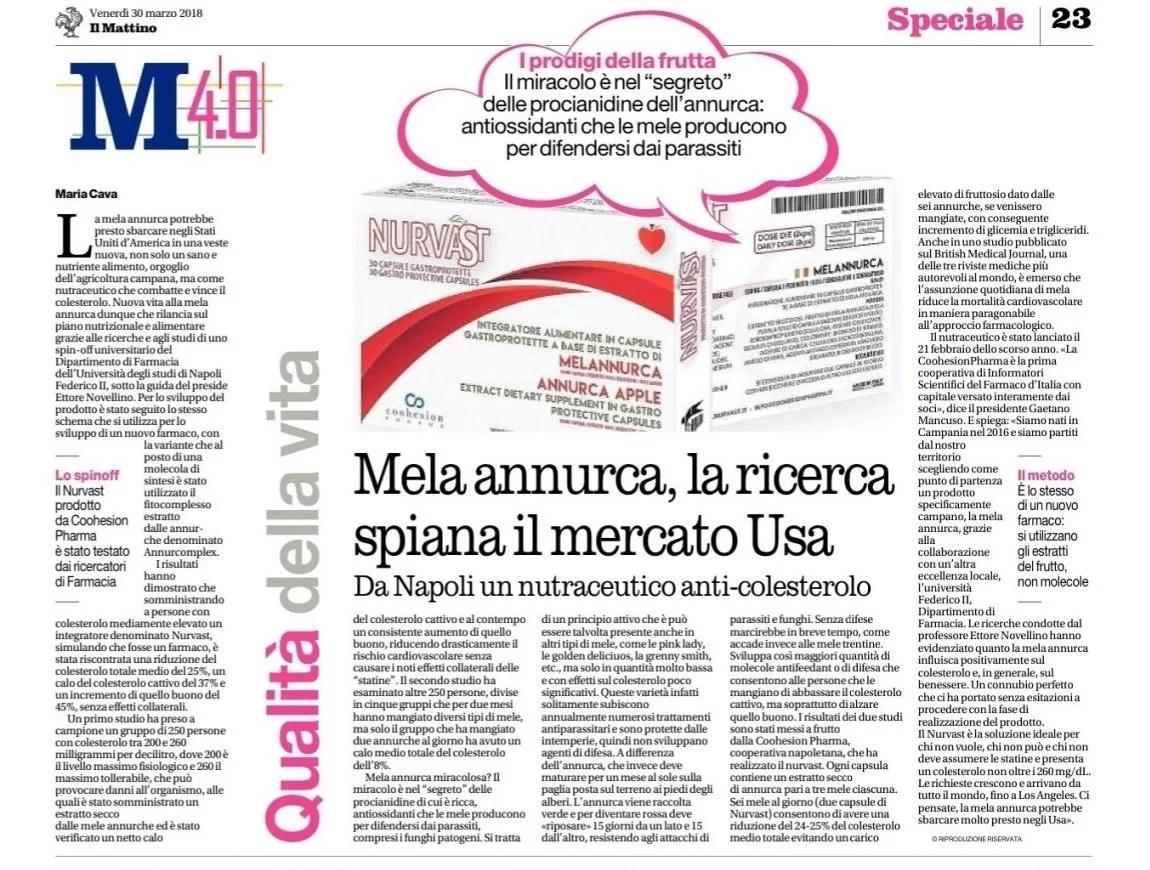 """Mela Annurca, la ricerca spiana il mercato Usa - Articolo su """"Il Mattino"""", 30 Marzo 2018"""