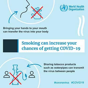 locandina OMS sigarette coronavirus