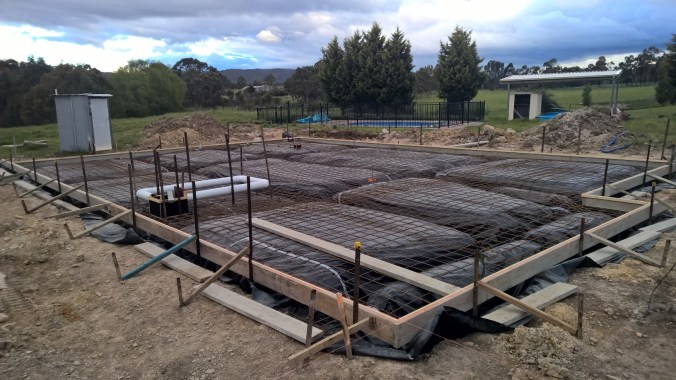 Full underslab ready to go, with bracing, fish-way channel and other bits