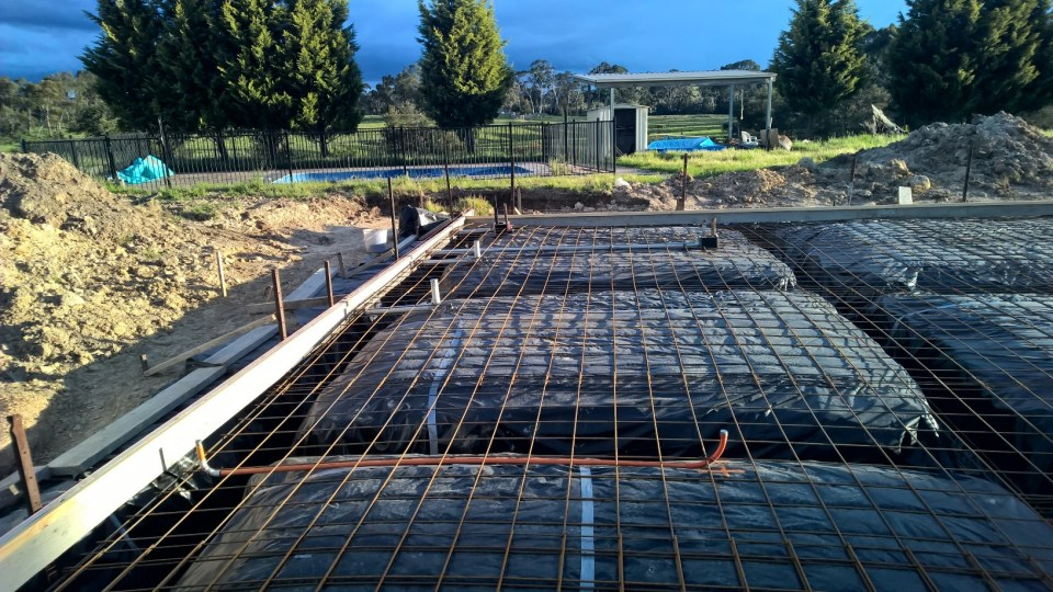 Underslab ready to go with electrical conduits and pipes