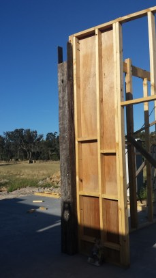 Redgum post ready to support the other side of the ironbark beam