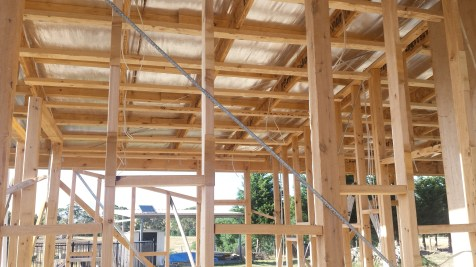 Electrical wiring and roof battens in the bathroom