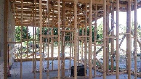 Electrical cabling and roof battens in the bedrooms