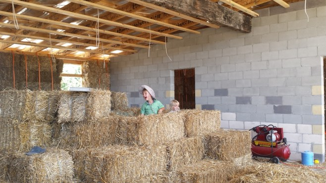 Fisher and Robin (Ryan's kids) decided to set up shop and sell some straw to help fund the build :D