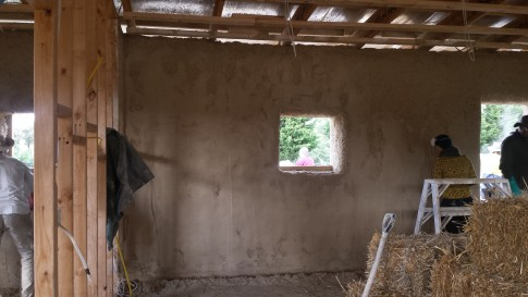 The interior back wall rendered and trowelled