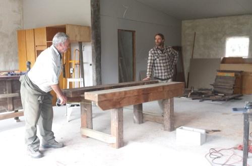 Dad and Matt talking builder talk
