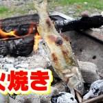 キャンプ料理 鮎の塩焼きと砂肝の炭火焼き ファミリキャンプ2018