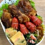 【甘辛胡麻チキン】お弁当作り 紅生姜とねぎの卵焼き・赤ウインナー・ほうれん草カニカマナムル