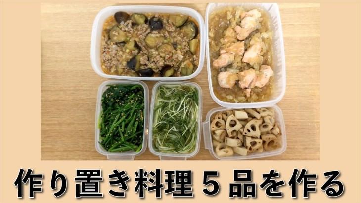 【#2】【一人暮らし】作り置き5品(主菜2品・副菜3品)を作る【簡単レシピ】【つくおき】【料理動画】