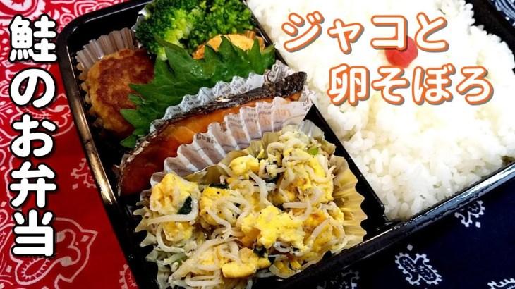 【お弁当】じゃこと卵そぼろの鮭弁当!栄養満点!オカズがいっぱい~【obento・Lunch Box・子供のお弁当】