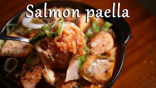 一人暮らし料理 キノコとサーモンのパエリアを作るんです。No.006 Salmon mushroom paella