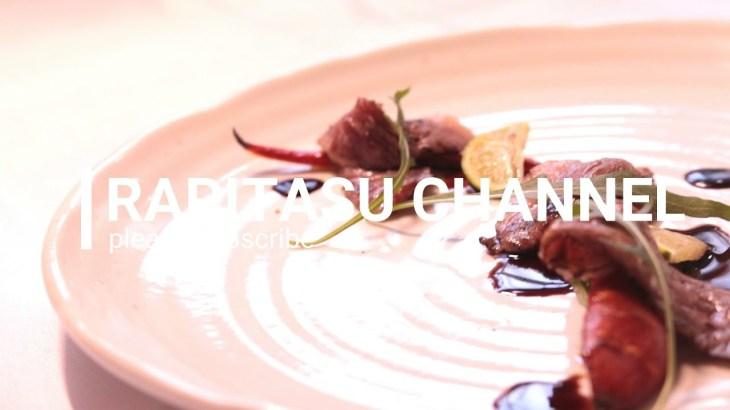 【料理動画】黒毛和牛の炙り 金時人参のカラメリゼ 酢橘のボルドーソース