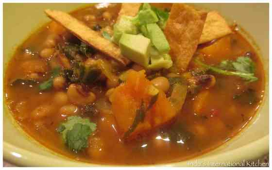 Black eyed peas and sweet potato soup