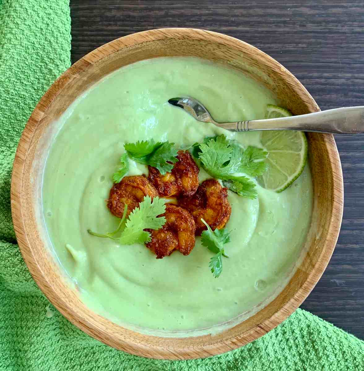 Avocado Cucumber Soup with Shrimp (Paleo, AIP, Keto)