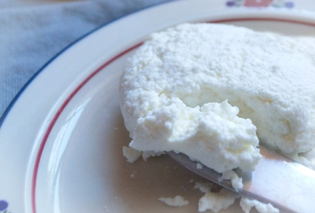 Homemade Ricotta Cheese, finished on a plate