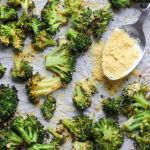 "Pinterest graphic with the finished broccoli on a baking sheet with the words ""Whole30, Paleo Gluten Free Roasted Broccoli"""