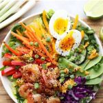 "Pinterest Graphic with the finished dish and the words ""Asian Shrimp Rainbow Salad Bowls"""