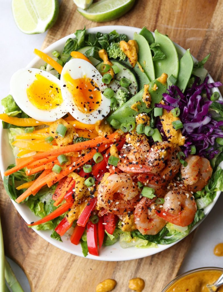Asian Rainbow Salad Bowls with Shrimp