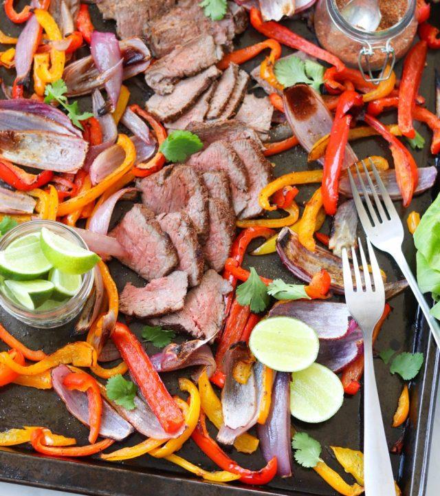 Whole30 sliced sheet pan Steak Fajitas