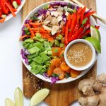 Whole30 Vegetarian Asian Salad with Ginger Tahini Dressing - Finished