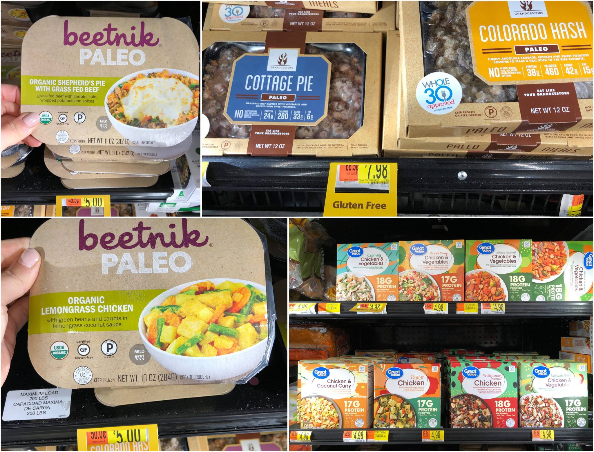 Collage of frozen individual meals on shelves.