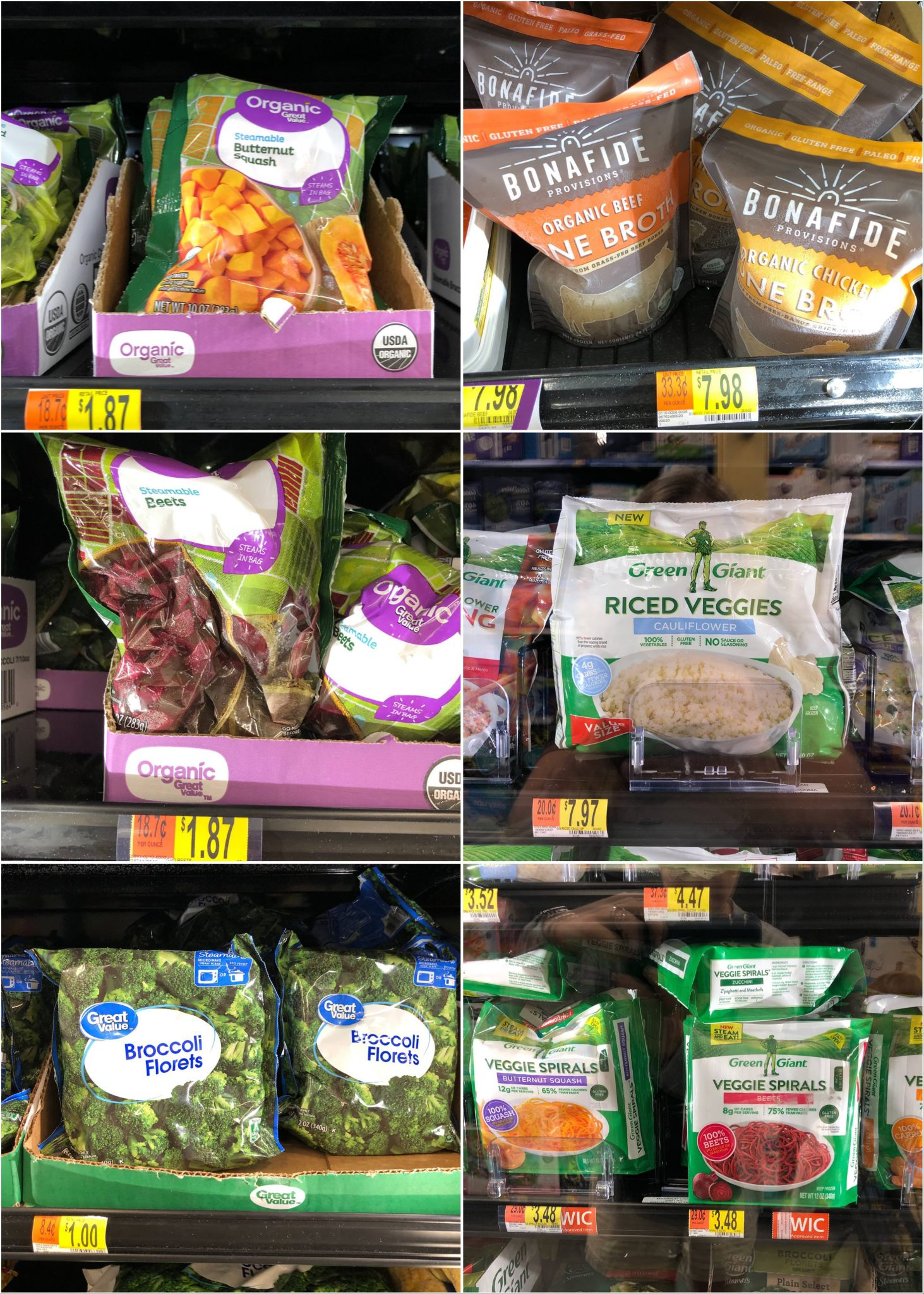 A collage of Whole30 compliant frozen vegetables and fruit.