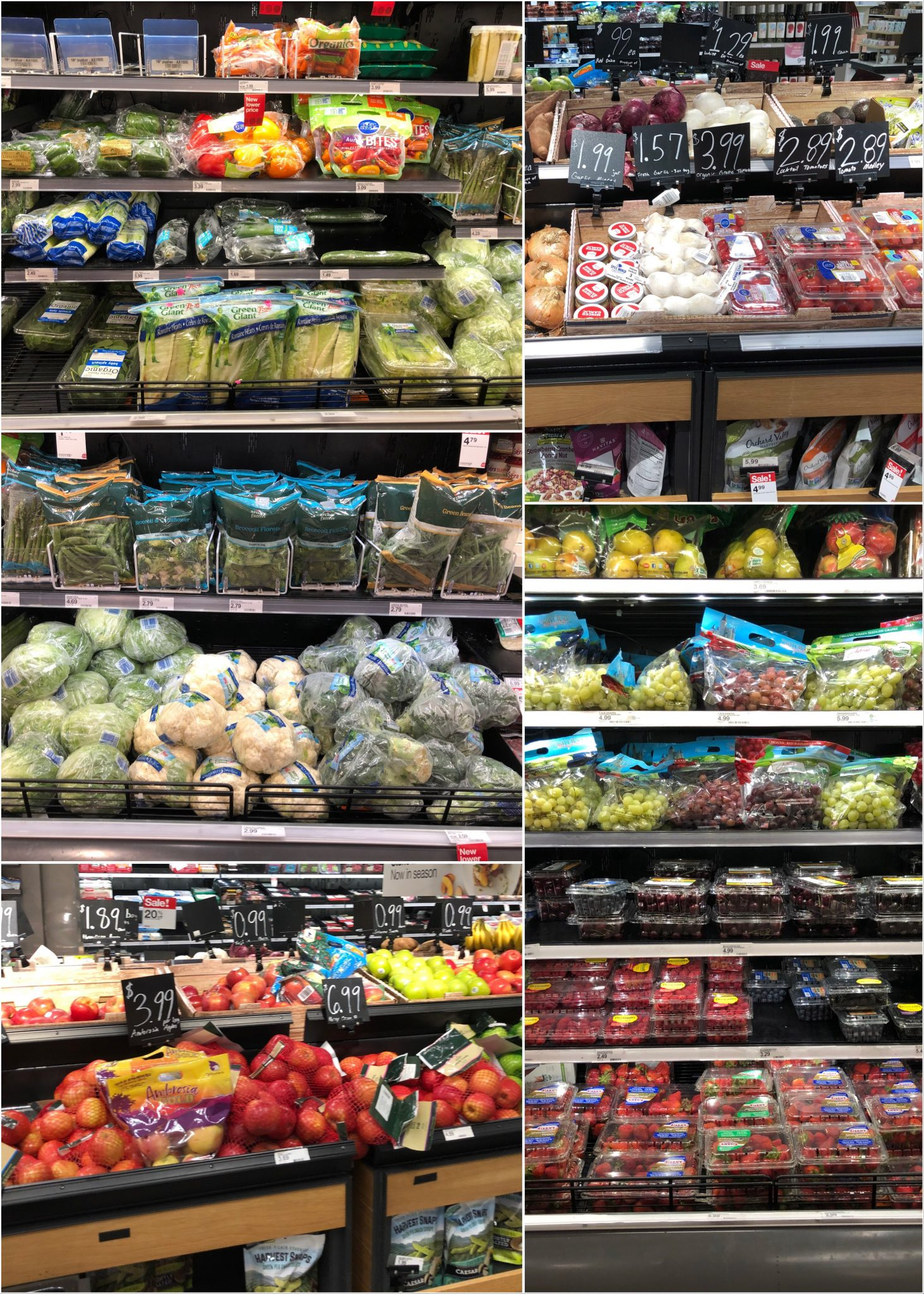 Fruits and Veggie Aisle collage