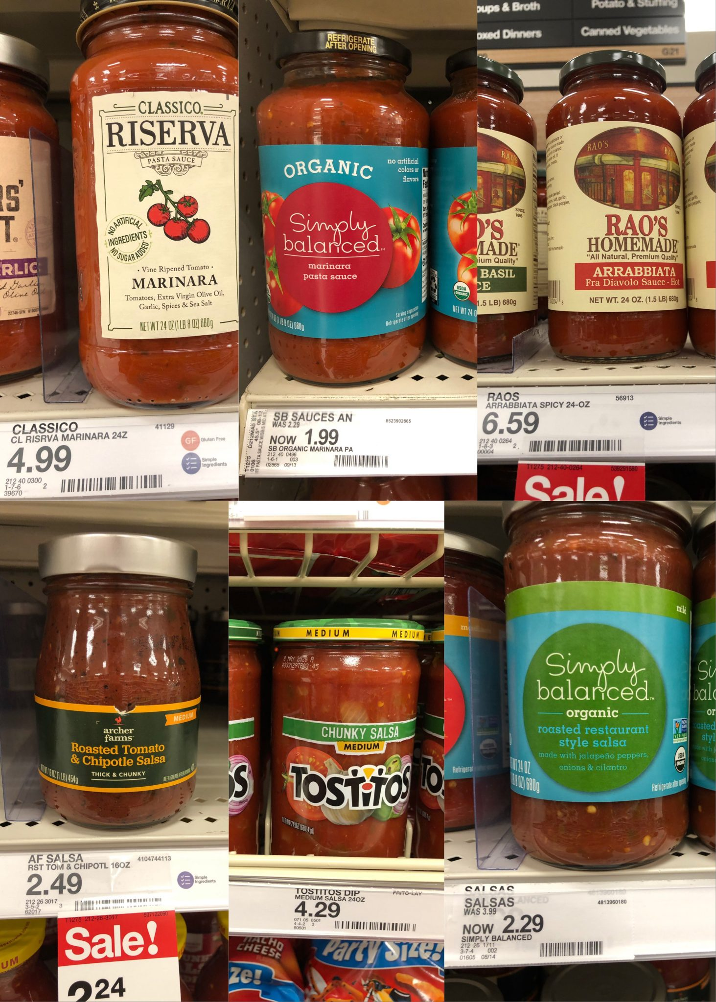Collage of tomato sauces on shelves.