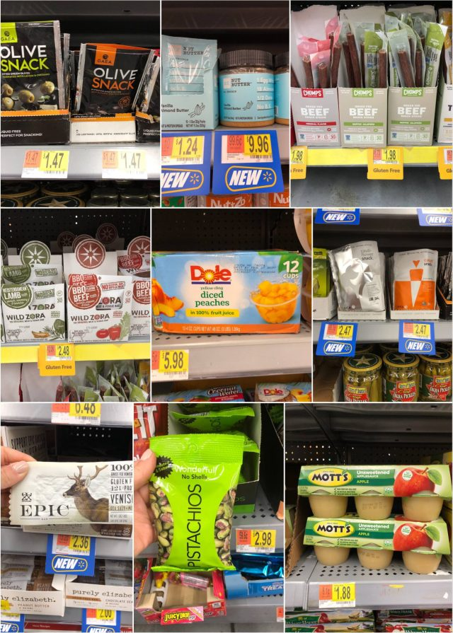 A collage of snacks and emergency foods
