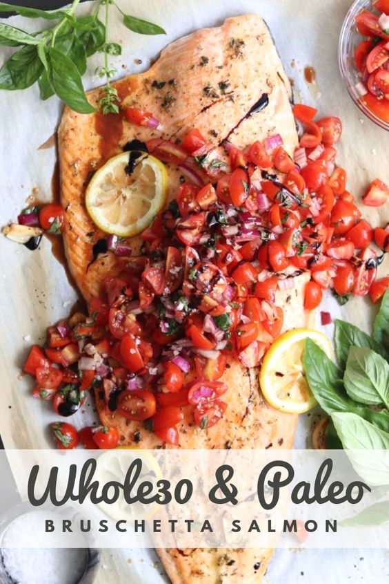 Bruschetta Salmon (Whole30, Paleo, Gluten Free) - Pinterest Image