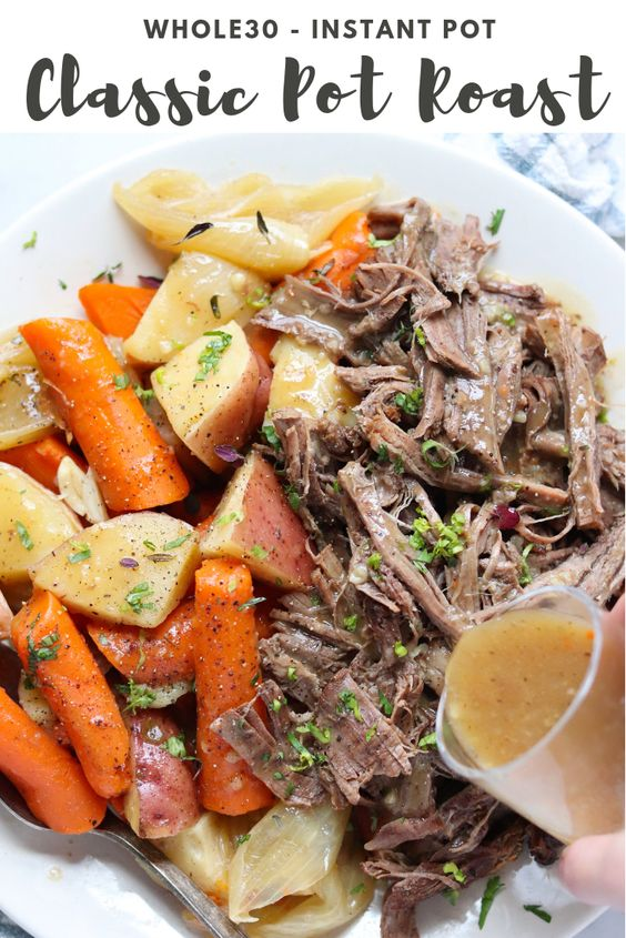 "Pinterest Graphic with a closer up photo the plated, finished dish and the words, ""Whole30 Instant Pot Classic Pot Roast."""