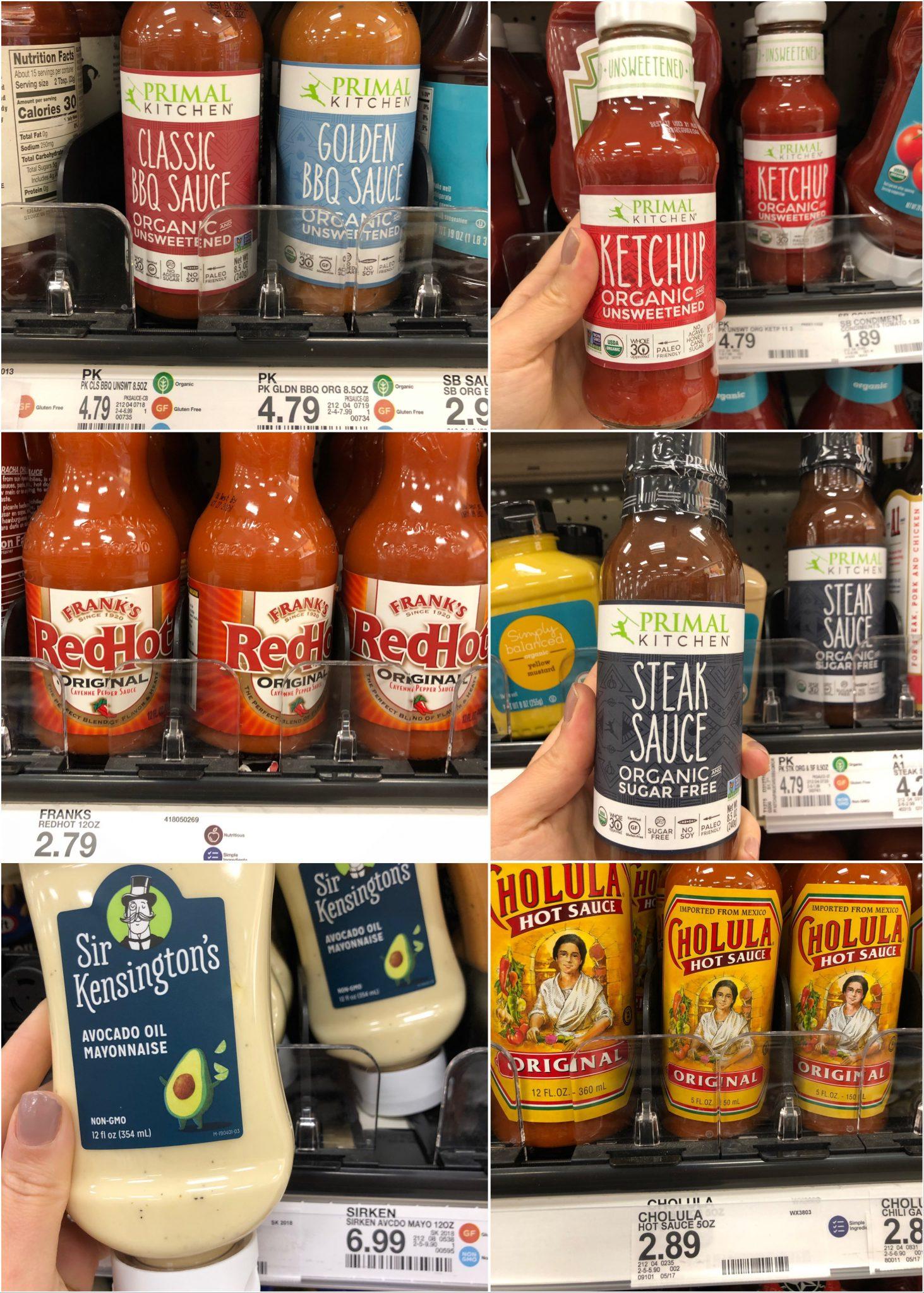 Whole30 ketchups and sauces at Target.