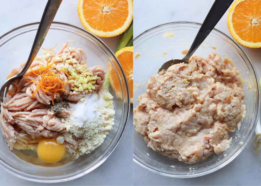 A collage showing all the meatball ingredients separately in a glass bowl, then all the ingredients mixed together.