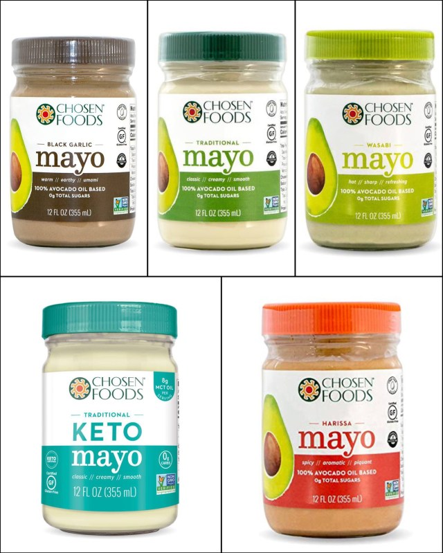 A collage of all the compliant mayo brands.