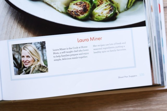 A close up shot of the bio section inside the cookbook. It has a small headshot with my name and a short bio, but the text is too small to read in this photograph.