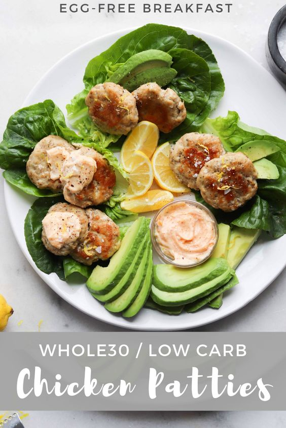 """Pinterest Graphic showing the finished dish and text """"Whole30 Low Carb Chicken Patties"""""""