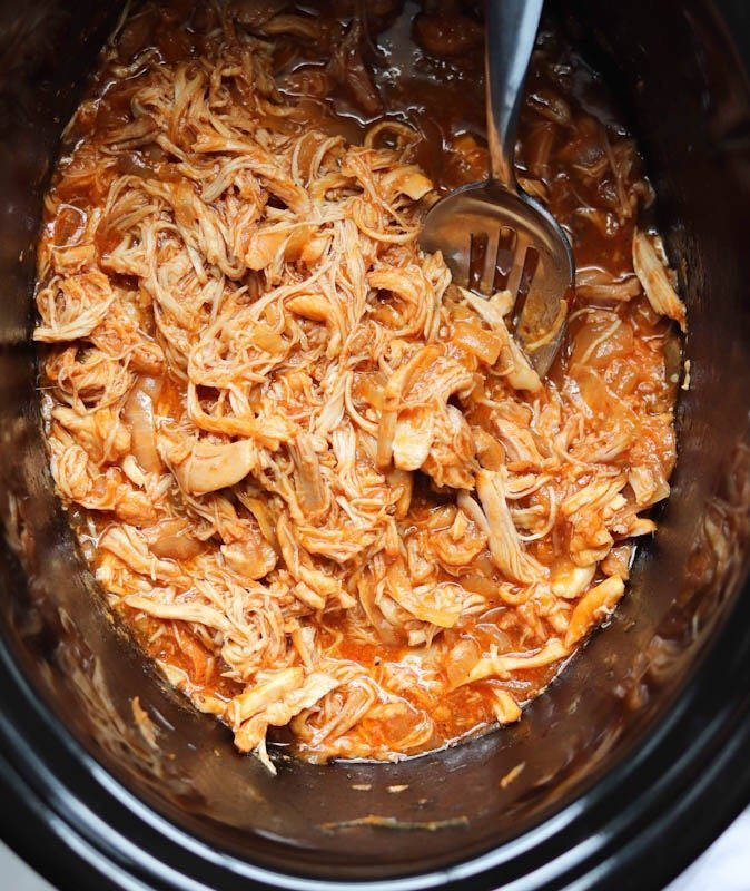 Shredded BBQ Chicken in the slow cooker.